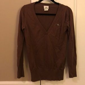 Lacoste, deep V brown sweater